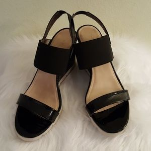 Flex wedge sandals black patent